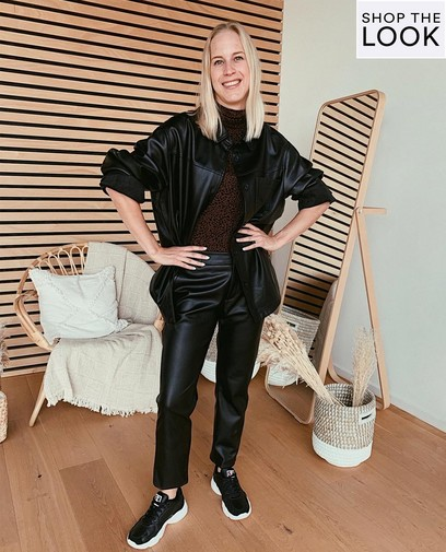 Stoere faux-leather look
